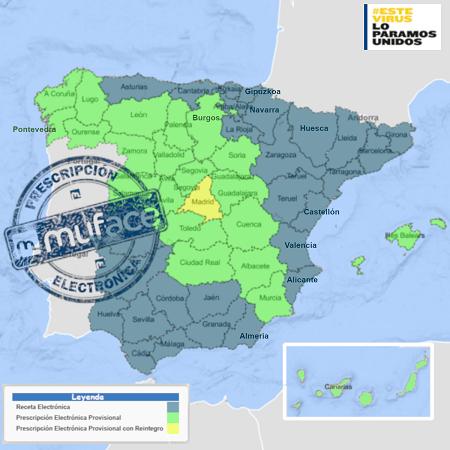 Mapa de España con recetra electrónica pública